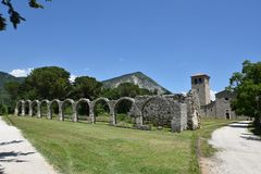 The ruins of an ancient abbey in Castel San Vincenzo, Italy. stock images