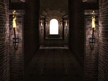 Arches corridor. Dark medieval castle corridor with columns and torches 3d illustration Stock Photo