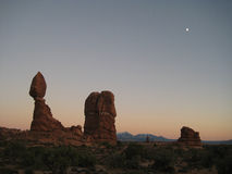Arches at dawn (Utah, USA), looking like Star Wars desert. Arches National Park is a US National Park in eastern Utah. The park is located on the Colorado River Stock Photos
