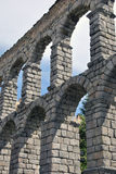 Arches detail of the Aqueduct of Segovia Stock Images