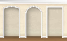 Arches of different shapes in the wall Stock Images