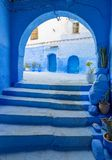 Arches and doors in blue city Chefchaouen Stock Photos