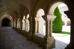 Arches in the exterior hallway of the Abbaye de Fontenay, Burgundy, France Stock Images