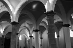 Arches. In a Franciscan temple royalty free stock photography
