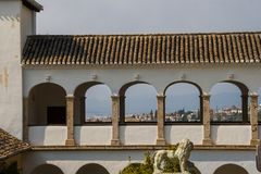 Arches of the Generalife in Spain, part of the Alhambra.  Royalty Free Stock Images