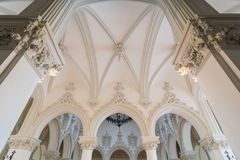 Arches inside a palace. The culture palace in Iasi, Romania was built in the neogothic style Stock Photo