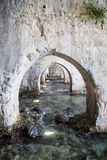 Arches inside shipyard of Alanya medieval castle. Arches made of stone inside shipyard of Alanay medieval castle built in XIII century by Alaeddin Keykubat with Stock Photos