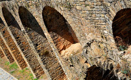 Arches on the interior of the Fortress Wall in Aínsa, Spain Royalty Free Stock Photo