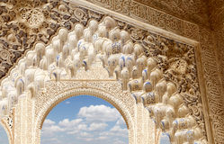 Arches in Islamic (Moorish)  style in Alhambra, Granada, Spain Royalty Free Stock Photos