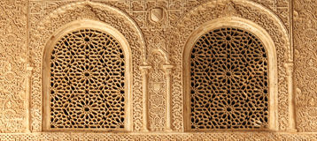 Arches in Islamic (Moorish)  style in Alhambra, Granada, Spain.  Royalty Free Stock Image