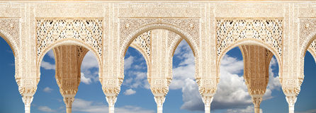 Arches in Islamic (Moorish)  style in Alhambra, Granada, Spain.  Stock Image