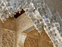 Arches in Islamic (Moorish)  style in Alhambra, Granada, Spain Stock Image