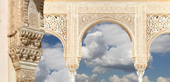 Arches in Islamic (Moorish)  style in Alhambra, Granada, Spain Royalty Free Stock Photography