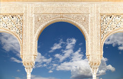 Arches in Islamic (Moorish)  style in Alhambra, Granada, Spain.  Stock Photo