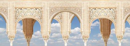 Arches in Islamic (Moorish)  style in Alhambra, Granada, Spain Royalty Free Stock Photos