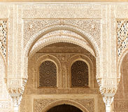 Arches in Islamic (Moorish)  style in Alhambra, Granada, Spain Royalty Free Stock Images