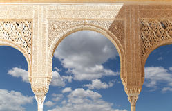 Arches in Islamic (Moorish)  style in Alhambra, Granada, Spain.  Royalty Free Stock Images