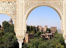Arches in Islamic (Moorish)  style and  Alhambra, Granada, Spain Royalty Free Stock Photo