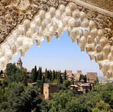 Arches in Islamic (Moorish)  style and  Alhambra, Granada, Spain.  Stock Photo