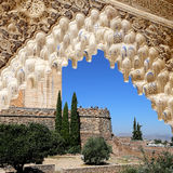 Arches in Islamic (Moorish)  style and  Alhambra, Granada, Spain Royalty Free Stock Images