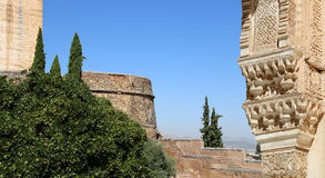 Arches in Islamic (Moorish)  style and  Alhambra, Granada, Spain Stock Photos
