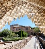 Arches in Islamic (Moorish)  style and  Alhambra, Granada, Spain Royalty Free Stock Photography