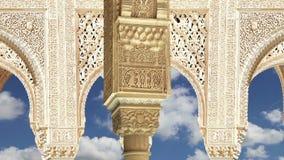 Arches in Islamic Moorish  style in Alhambra, Granada, Spain stock video footage