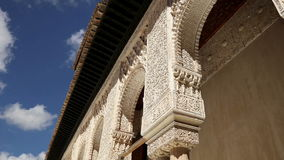 Arches in Islamic Moorish  style in Alhambra, Granada, Spain stock footage
