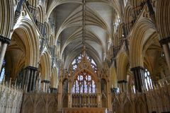 Arches of Lincoln cathedral Stock Photos