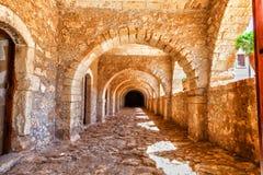 Arches of long niche. Arkadi monastery - Crete stock photos