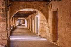 Arches medieval village of Valderrobres of the twelfth century, Royalty Free Stock Images