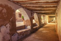 Arches medieval village of Valderrobres of the twelfth century, Royalty Free Stock Photo