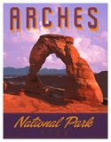 Arches MOAB National Park Art Poster Print. Arches Moab National Park Rock Formations Poster Print Art Utah colorful clouds trees valley vector illustration