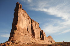 Arches monolith Utah. Arches National Park sandstone formation against blue sky royalty free stock image