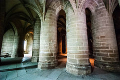 Arches in Mont St Michel Stock Photo