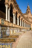Arches and mosaics in Spain Square in Sevilla Stock Images