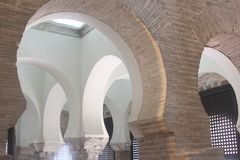 Arches in Mosque of Christ of the Light,Toledo Stock Photos