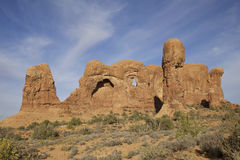 Arches N.P. Utah. A scenic vista of interesting rock formations in arches national park near moab utah Stock Photography