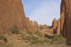 Arches N.P. Utah Canyon. Rock formations along a canyon in arches national park near moab utah Stock Photos