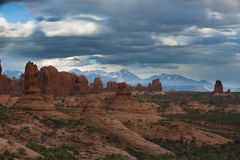 Arches National with cloudy sky Stock Photos