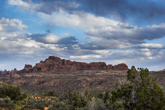 Arches National with cloudy sky Royalty Free Stock Photography