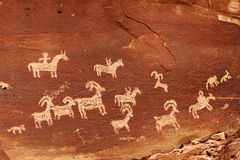 Arches National Park. Ancient petroglyphs in Arches National Park,Utah,America stock photo