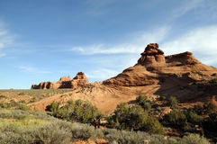 Arches National Park. Vast sandstone creation surrounded by desert greenery royalty free stock photo