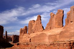 Arches National Park. Stone fins in Park Avenue region in Arches National Park Utah Stock Photos