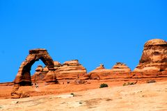 Arches National Park with blue sky and red rocks royalty free stock image