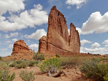 Arches National Park. Courthouse Towers in Arches National Park, Utah. The Organ in the foreground and the Tower of Babel in the background Stock Images