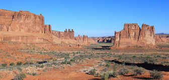 Arches National Park. From Courthouse Towers Viewpoint to catch Panoramic landscape in park stock image
