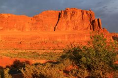 Arches National Park. Early sunrise glow in Arches National Park of red rock landscape Royalty Free Stock Photos
