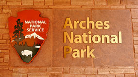 Arches National Park. Emblem. Visitor Centre near the town of Moab in Utah, USA. May 17, 2016 Stock Photography