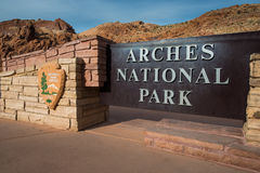 Arches National Park entrance sign Royalty Free Stock Image